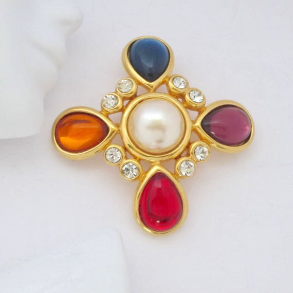 Joan Rivers signed Maltese Cross gold metal and Blue, RED, Purple, & Golden48crystals, mabe pearl bead PIN ~lovely vintage costume jewelry