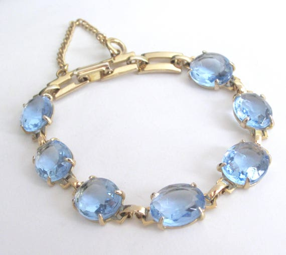 Delicate Blue faceted CRYSTAL gold tone panel BRACELET with safety chain ~pretty, vintage costume jewelry