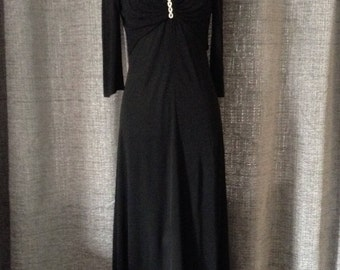 Vintage Black Evening Dress Size 10