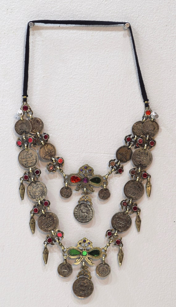 """Necklace Middle East Pink Green Red Glass Silver Pendant Kuchi Coin Necklace 38"""""""