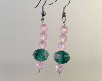Aqua and blush pink dangle earrings