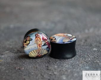 Pair plugs Birth of Venus image wooden ear tunnels ,4,5,6,8,10,12,14,16,19,25-60mm;6g,4g,2g,0g,00g;1/4,5/16,3/8,1/2,9/16,5/8,3/4,7/8,1 1/4""