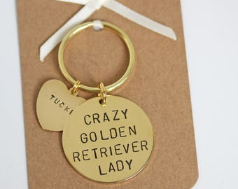 Crazy Golden Retriever Lady Hand stamped Keyring, Personalised with dogs name(s)