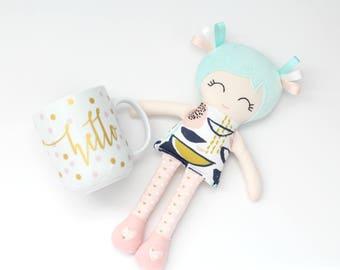 Cloth Doll for Girls First Birthday Present Fabric Doll Ballerina Doll with Tutu Gift for Girls Nursery Soft Doll Rag Doll Blush Mint