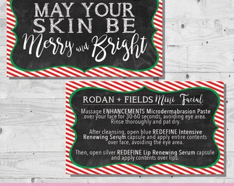Holiday Mini Facial Card - May Your Skin be Merry & Bright | INSTANT DOWNLOAD