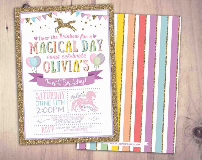 Magical Unicorn Birthday Invitation Rainbow Unicorn Birthday Invitation Unicorn Invitation Unicorn Party Pink Gold Unicorn Birthday Party