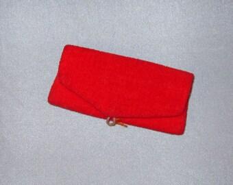 Barbie velvet Purse #939 Red Flare original vintage 60s Mattel no closure bead