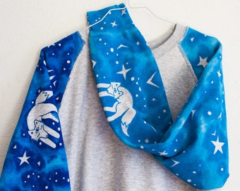 starry sky & sleeping foxes sweater