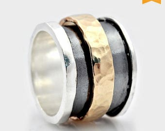 SALE Spinner fidget ring, Handmade Silver and Gold Spinning Ring, Spinning Band, Wide Spinning Ring, Oxidized Spinning Ring, ring for women