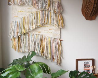 "Large Woven Wall hanging / ""Remnants"" / Handwoven Tapestry / Fibre art"