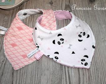 Set of 2 cotton bandana bibs, panda, fans, sponge, in stock