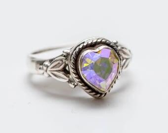 Delicate Swarovski Crystal Heart 925 Silver Ring