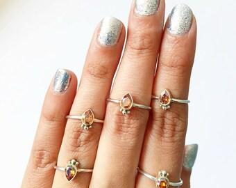 Cute Tiny Swarovski Pear Fancy Stone Ring , Teardrop Silver Ring , Copper Swarovski Sterling Silver Stacking Ring