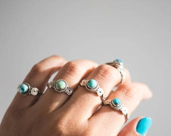 Silver Turquoise Ring * Turquoise Ring * Stacking Ring * Spiral Ring * Round Turquoise * Turquoise Jewelry * Blue Rings * Turquoise Rings