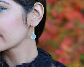 AQUA CHALCEDONY DROP Earrings/ Handmade / Gold Plated / Gifts for her