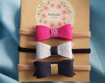 Felt mini bow headbands, baby headbands, nylon headbands, mini bows, baby bows