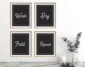 Wash Dry Fold Repeat, Laundry Room Art, Minimalist Laundry Art, Rustic Laundry Room, Laundry Room Prints, Farmhouse Decor