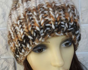 Hand Knitted Women's Brown And Cream Random Winter Hat With A Brown Pompom - Free Shipping