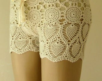 EXPRESS CARGO!!! Off White crochet short, full lined crochet short, women short, beach accessories, beach wear !!! FORMALHOUSE