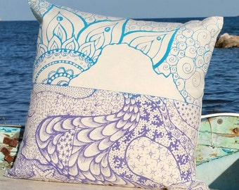 Es Vedra Ibiza Hippy Purple  & Blue Pillow, hand printed with water based ink