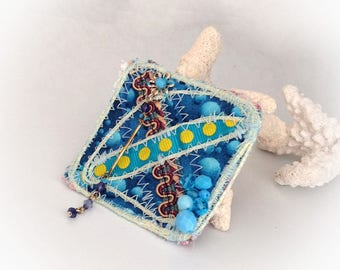Brooch, square, art textile, turquoise, blue, yellow