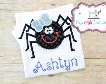 Halloween Shirt, Girl's Halloween Shirt, Kid's Halloween Shirt, Children's Halloween Shirt, Spider Applique Embroidery