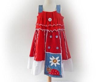 Red Dress, Girls Sundress, Pinafore Dress, Ladybird, Trapeze Dress, Upcycled Dress, Cashmere Dress, Tunic Dress, Applique Dress, Age 8 - 10