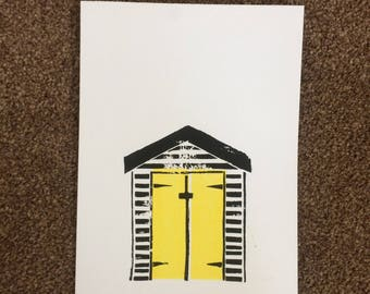 Beach Hut Lino Print - Yellow (A5)