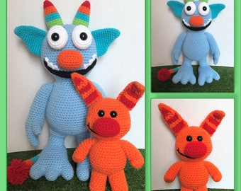 Tickle Monster and His Little Tickle Friend Amigurumi (PDF file only, not the finished doll)