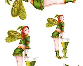 Decoupage Rice Paper Sheets A4 Size Absinsthe fairy, Green fairy