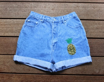 Pinapple Shorts High Waisted Denim Custom Shorts Studded Pineapple Any Size