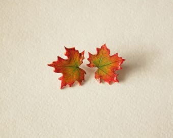 Maple leaf earrings silver stud Canada symbol maple leaf fall earrings leaf polymer clay jewelry gift for her maple leaf jewelry nature styl
