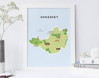 Map of Somerset - Illustrated Map of Somerset