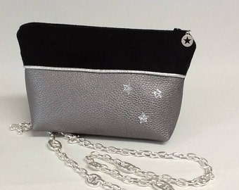 For women/gift for her makeup pouch / case beauty Black Suede and leatherette grey iridescent with silver edging
