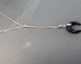 black horn necklace, satellite ball chain, rose gold, 925 sterling silver