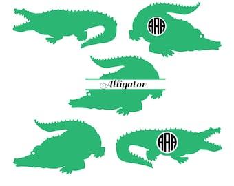 Alligator SVG, Alligator monogram svg, crocodile svg, Reptile svg, animal svg, Cut file silhouette files, Cricut files, svg, dxf, eps, png.