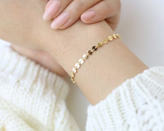 Gold coin tattoo Bracelets // coin disc shinny chain Bracelet //bohemian Bracelets // dainty chain Bracelets // Gifts for her