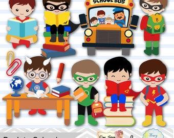 Digital Superhero Clip Art, School Day Clipart, Superhero Boys Back to School Clipart, Boys School Day Clipart, School boysl Clip Art 0245