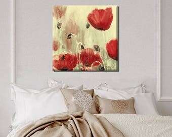 Contemporary Art, Landscape Print, Landscape Art, Flower Wall Decor, Flower Wall Art, Abstract Flowers, Poppy, Red Poppies Wall Art
