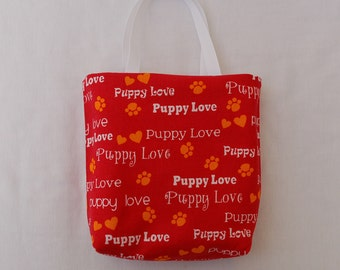 Fabric Gift Bag/ Party Favor Bag/ Goody Bag- Puppy Love on Red