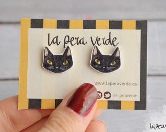 Cat earrings, black cat earrings, kitty cat stud, black kitty earrings, black cat stud, cat jewelry, black cat jewelry, cat lover earring