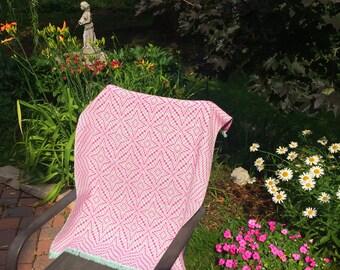 Handwoven Baby Blanket, Pink & Green for Baby Girl