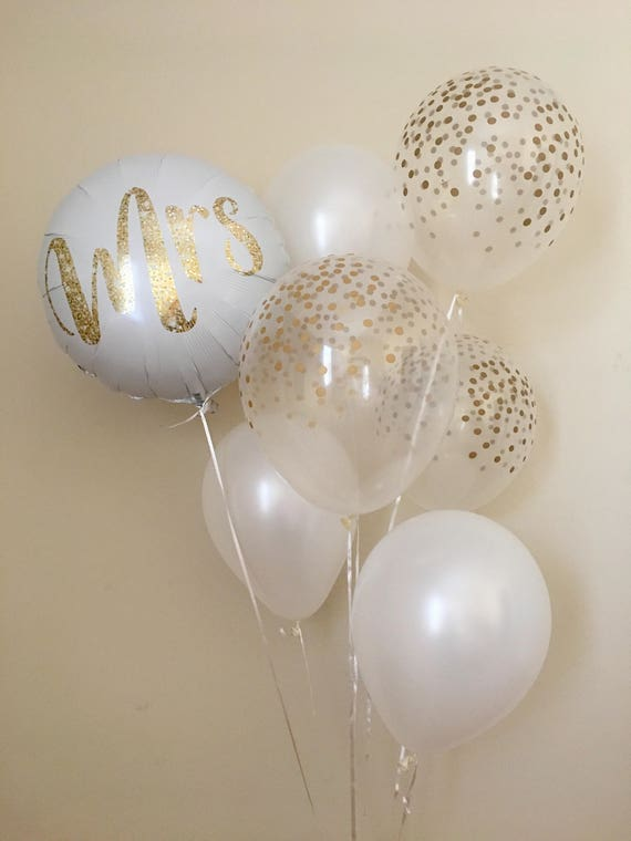 Mrs balloon bouquetgold confetti look balloonswedding balloons il570xn junglespirit Gallery