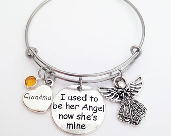 Grandma Memorial, Loss of Grandma, I used to be her Angel now she's mine, Loss of Grandmother, Grandma Memorial Jewelry, Memorial Jewelry
