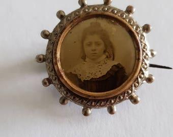 small antique edwardian french photo brooch, souvenir pin, photo pin