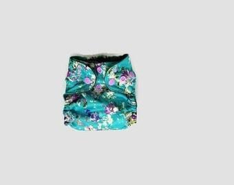 Summer Floral- Newborn Cloth Diaper- Pocket Cloth Diaper- ai2- AIO- Hybrid Diaper- Floral Diaper- NB Diaper- Photo Prop- Hemp Bamboo Diaper