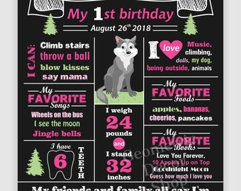 Wolf / Birthday / Chalkboard / Sign / Printable / Girl / 1st / Board / Poster / 2nd / woodland / animals / any age / pink /CWolf2