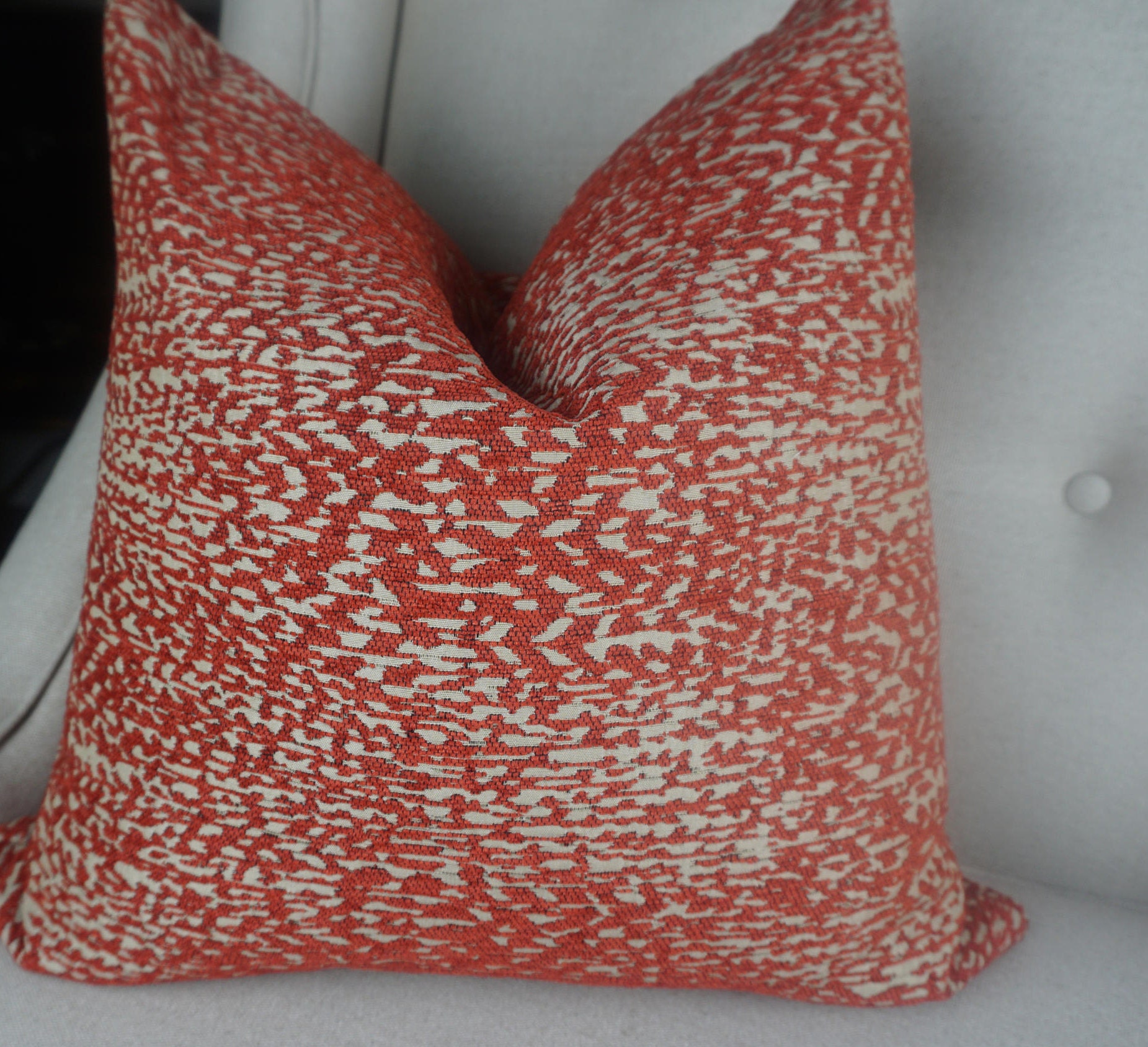 Red Beige Chenille Pillow Cover Home Decor Decorative Red