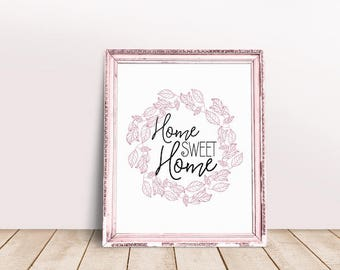 Home Sweet Home Sign | Housewarming Gift, Hallway Wall Art, Home Decor, Floral Wreath Welcome Sign, Welcome Home Print, Floral Welcome Print