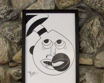 Odilo. abstract face drawing-black+white print-wall art-poster-illustration-ink